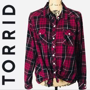 Torrid Plaid Camp Shirt - Pink/Black